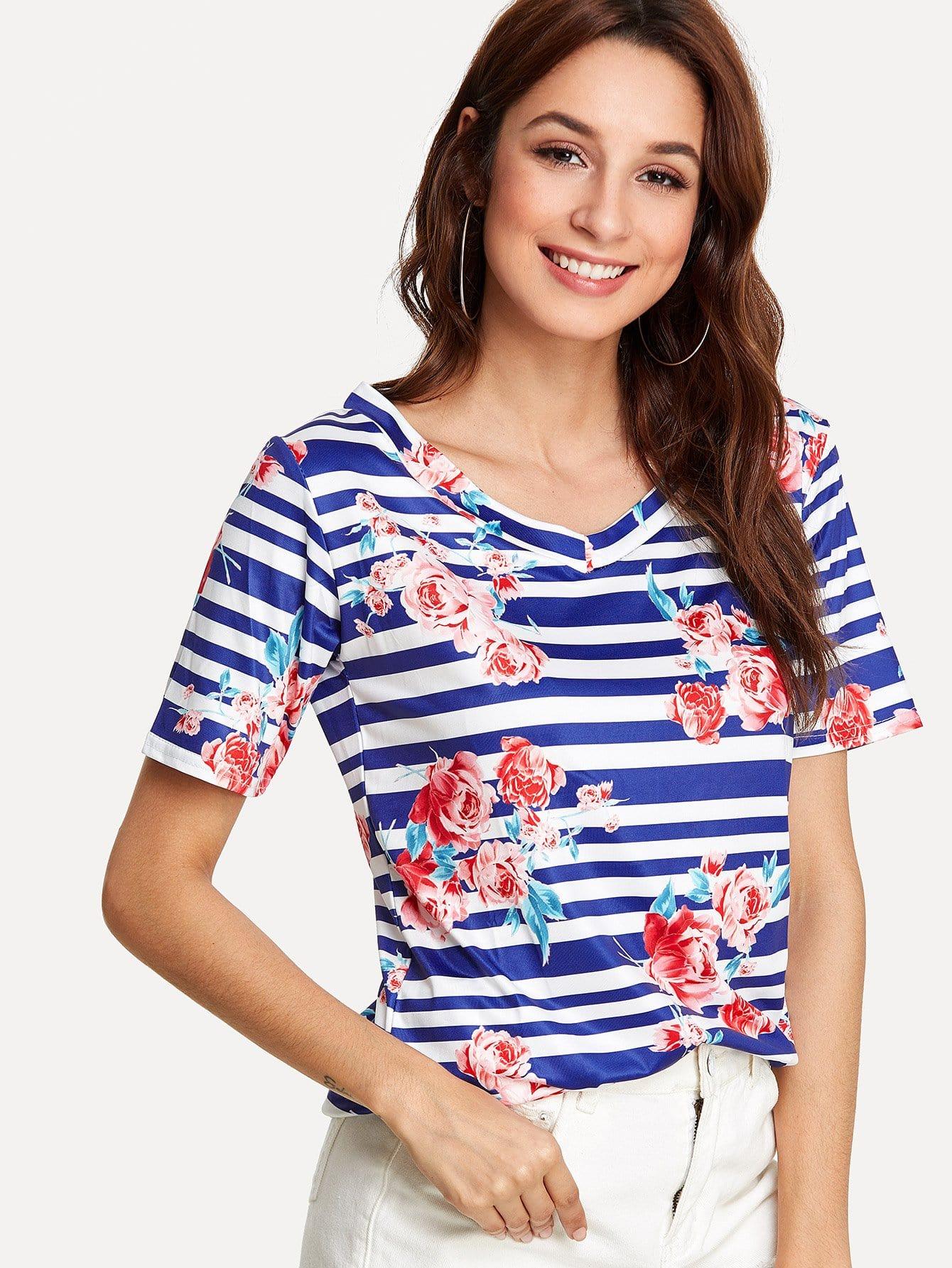 Stripe & Flower Print T-shirt redfox футболка flower t 42 4300 желтый
