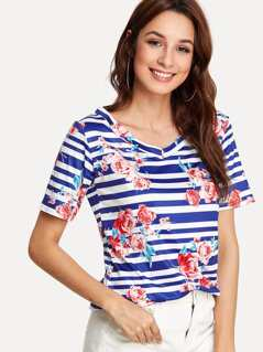 Stripe & Flower Print T-shirt