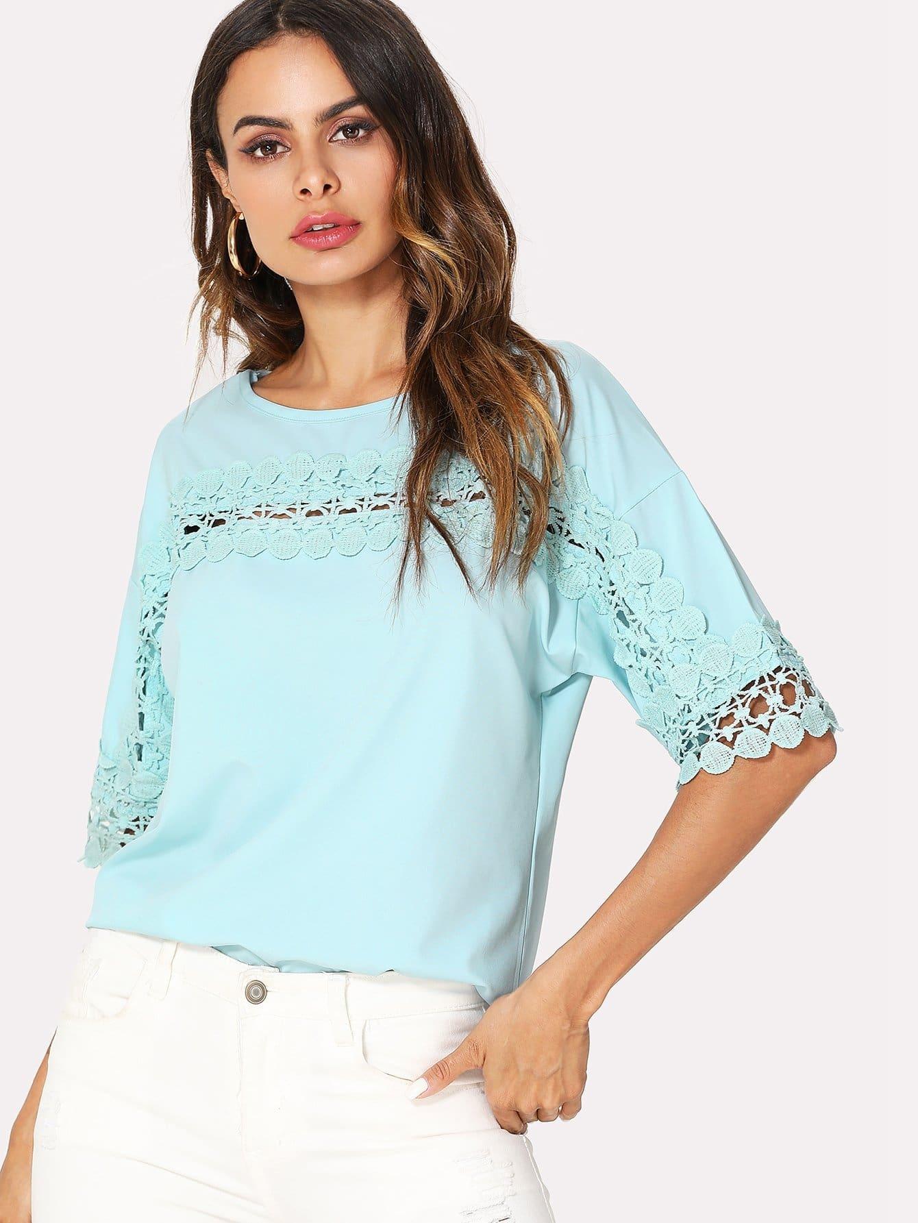 Lace Crochet Contrast Blouse lace crochet contrast neck blouse