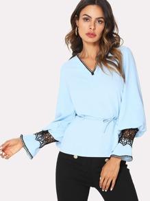 Flounce Sleeve Lace Contrast Top