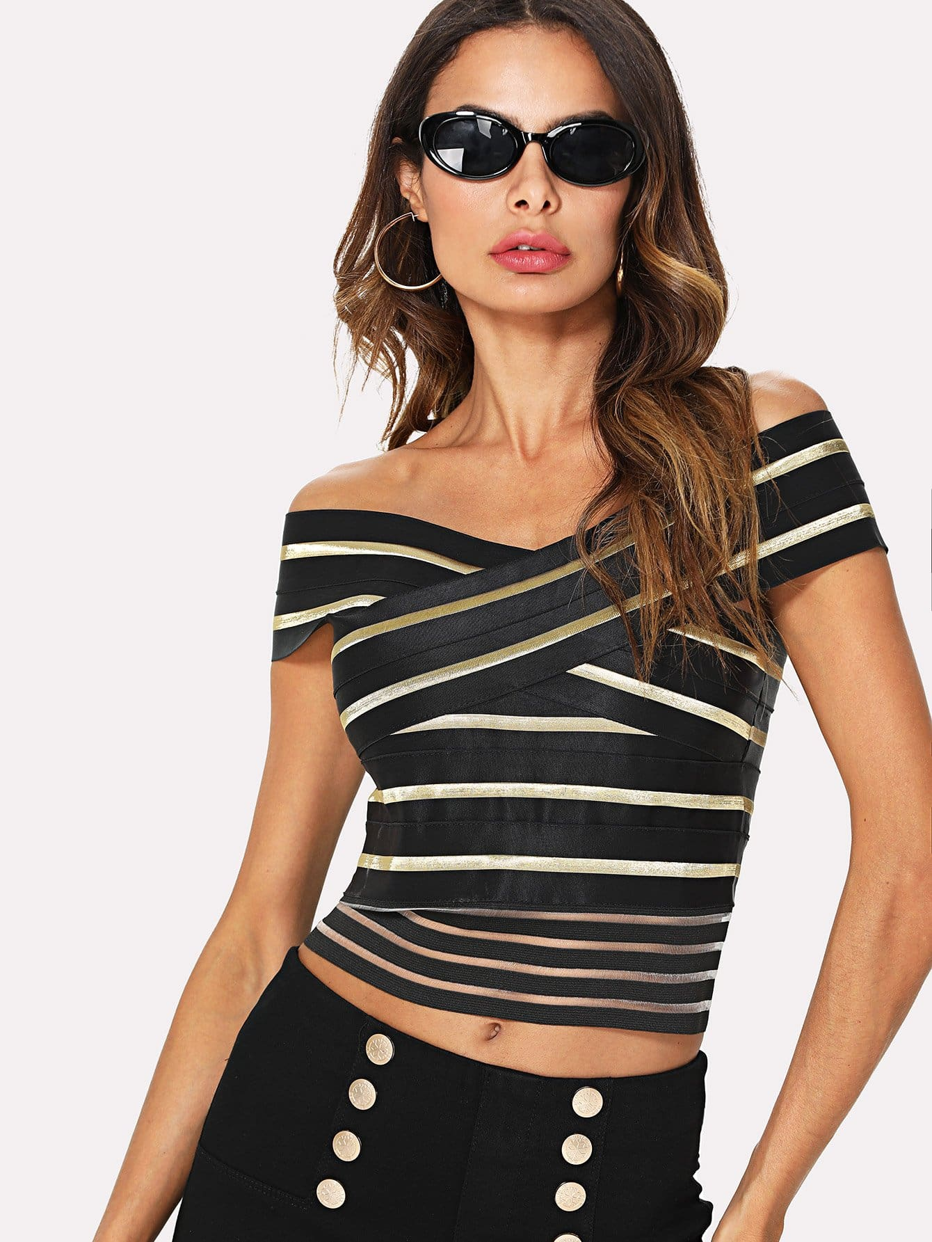 Off Shoulder Stripe Crop Top stripe off the shoulder crop top in light blue