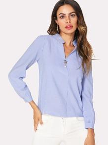 Button Back Faux Pearl Decoration Stripe Shirt