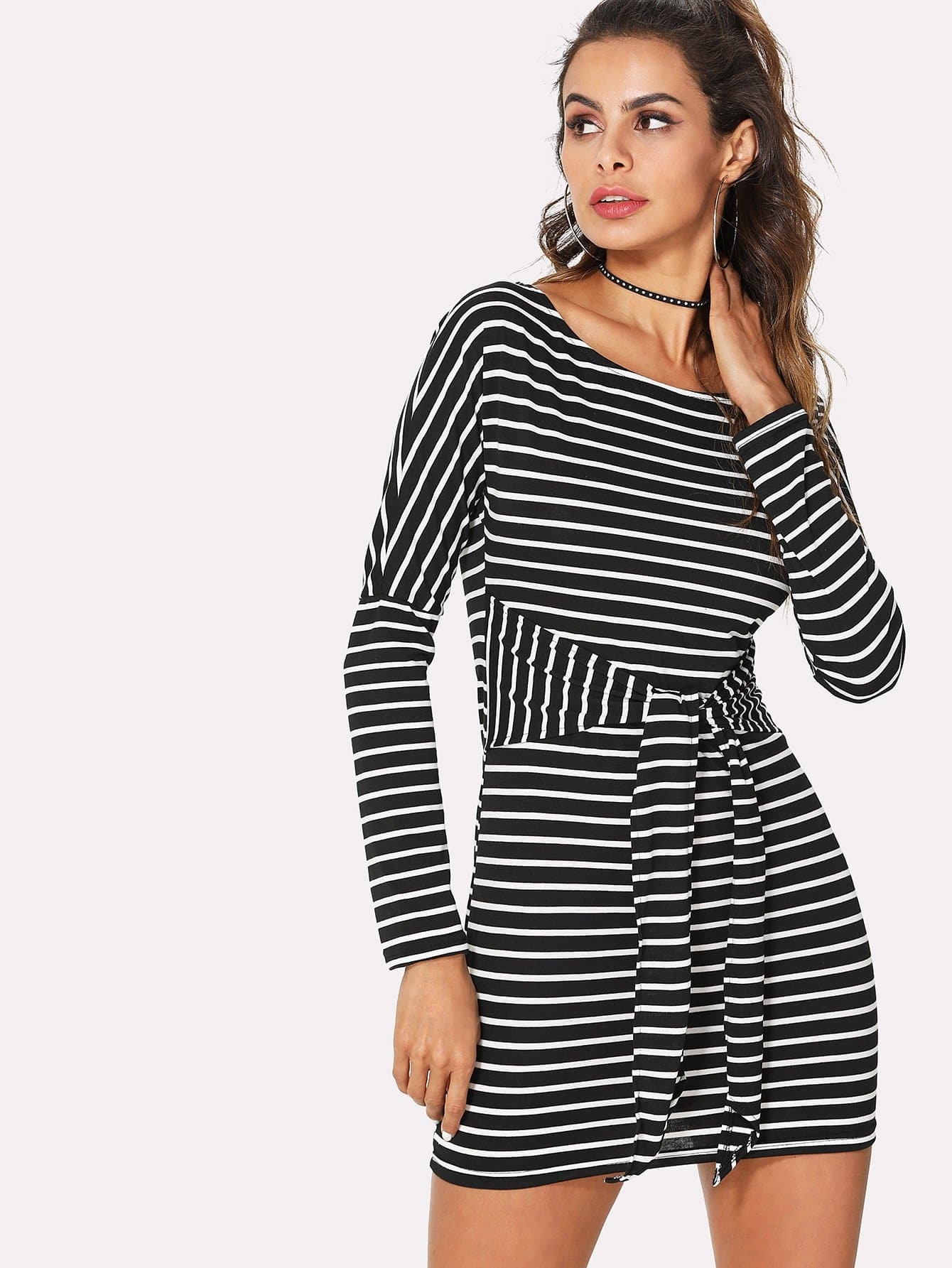 Knot Front Stripe Dress knot front fit