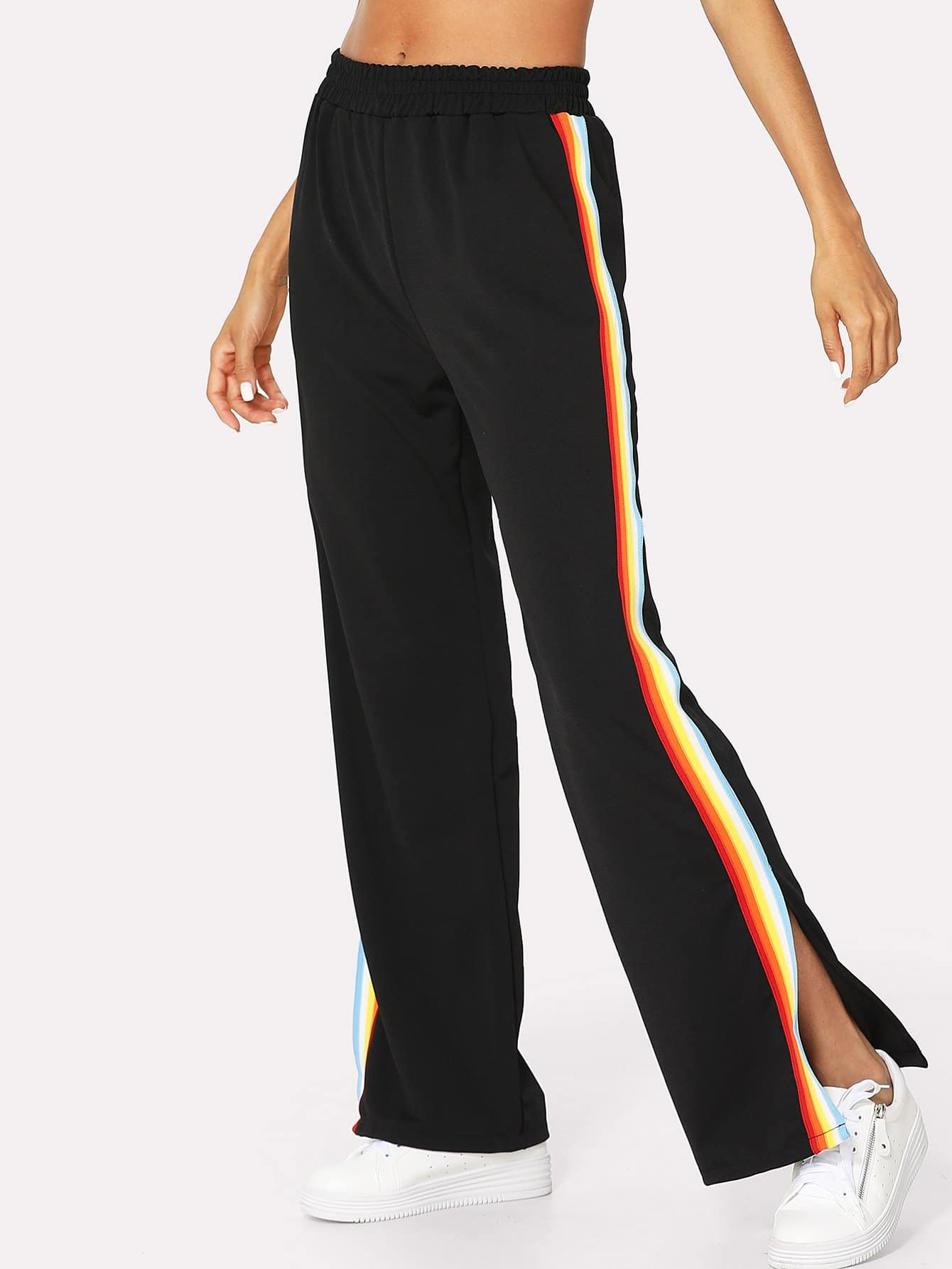 Rainbow Stripe Contrast Side Wide Leg Pants bow tie side wide leg pants