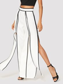 Contrast Binding Split Pants