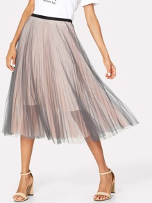 Box Pleated Mesh Skirt