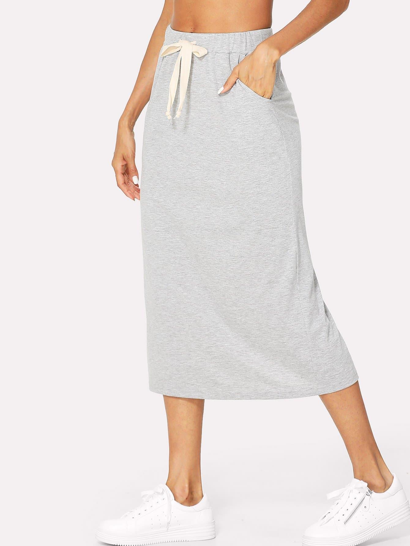 Купить Пряжка с поясничной стеной Скрытая карманная юбка, Andy, SheIn