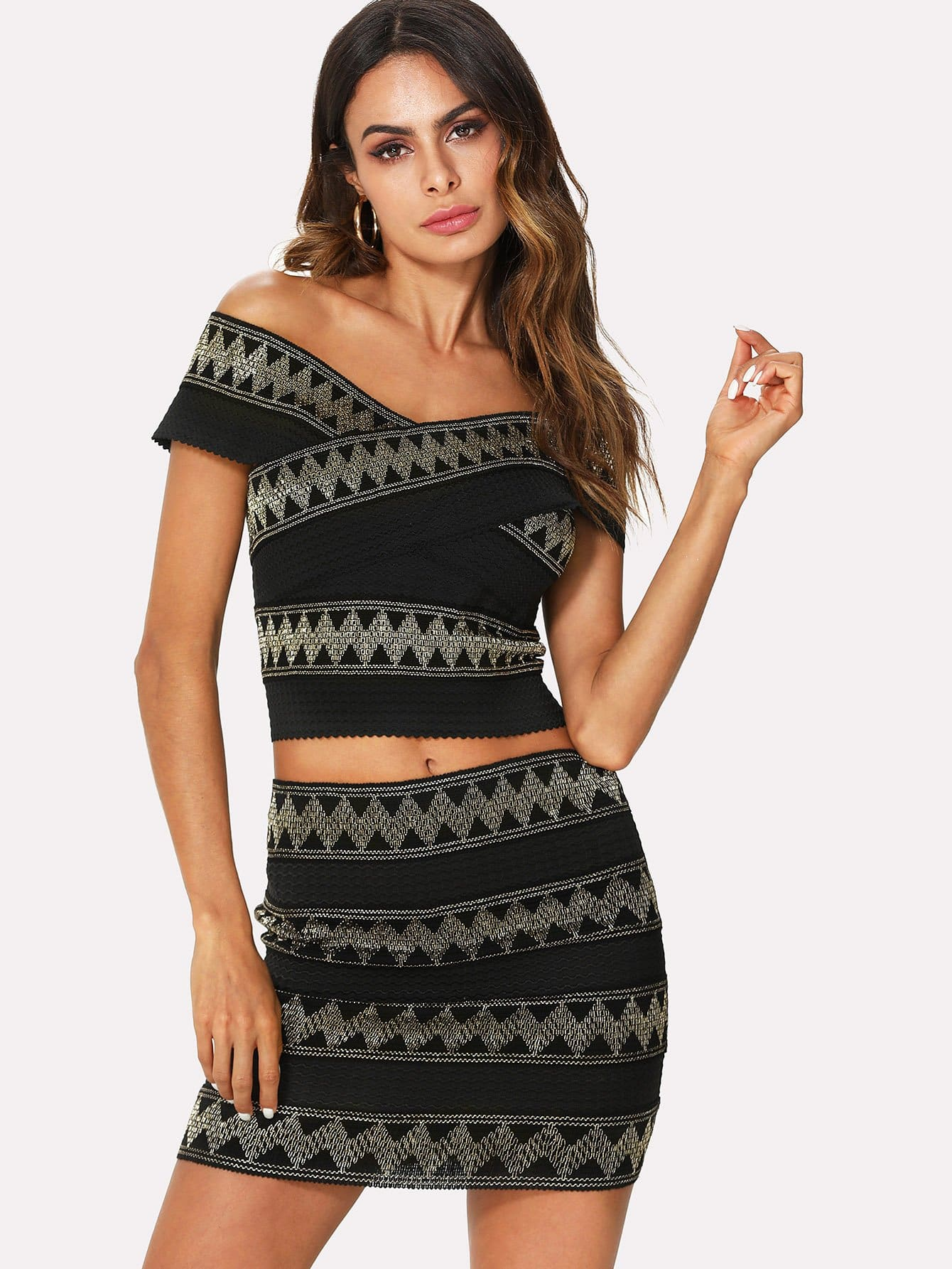 Geometric Embroidered Zip Back Crop Top & Skirt zip back plaid crop top and skirt set