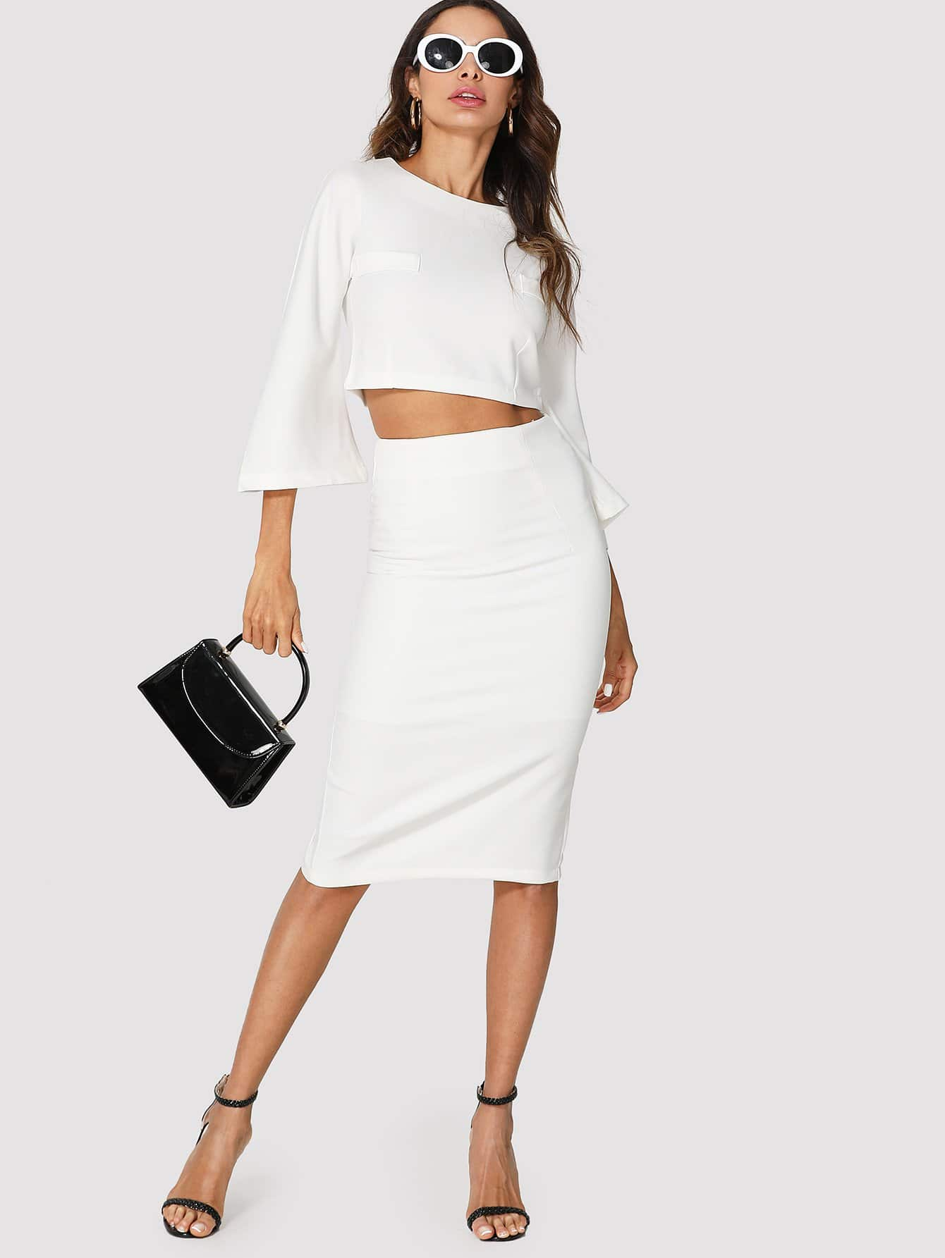 Flare Sleeve Crop Top & Pencil Skirt faux suede crop top and pencil skirt