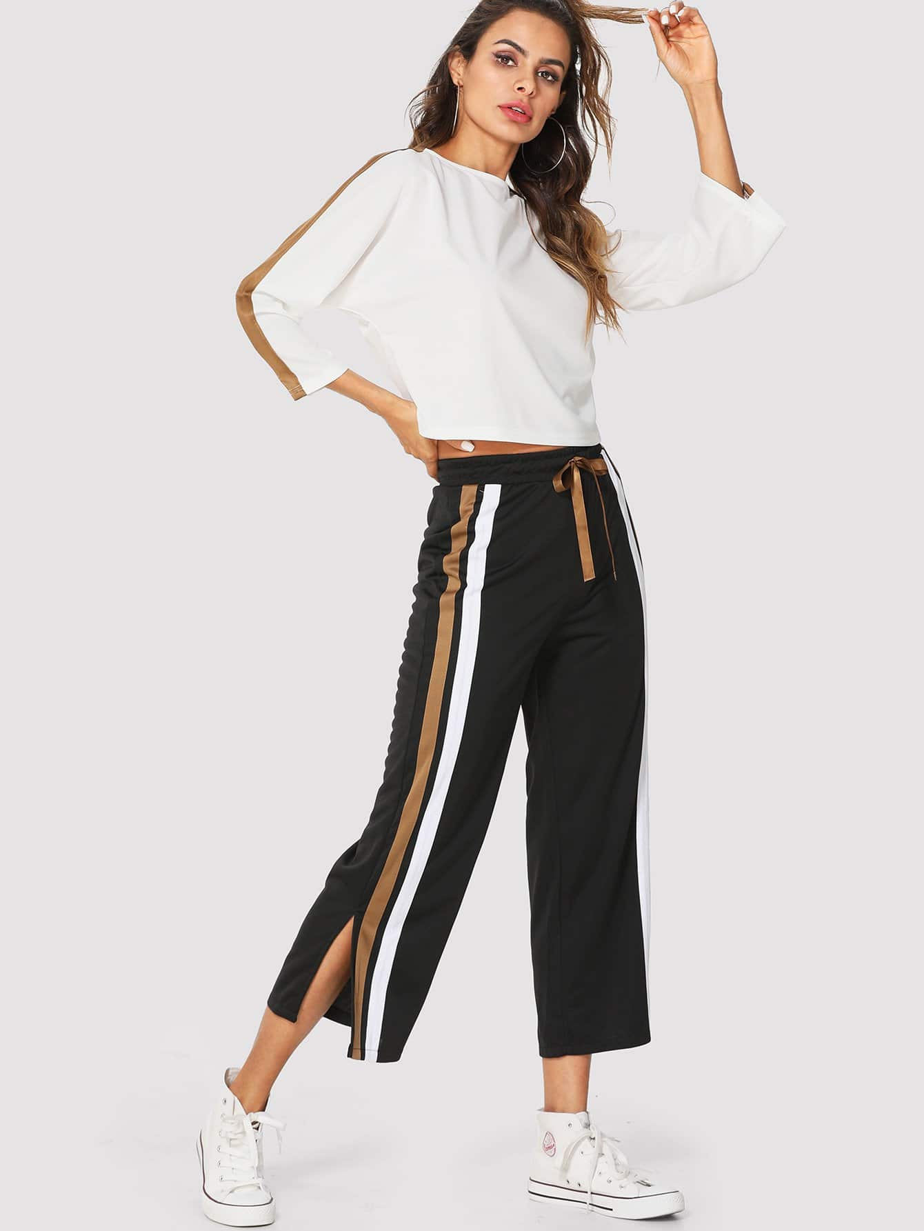 Stripe Contrast Top & Drawstring Waist Pants black stripe round neck sleeveless drawstring waist activewear outfits