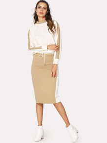 Color Block Top & Drawstring Waist Skirt