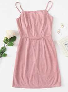 Suede Zip Up Back Cami Dress