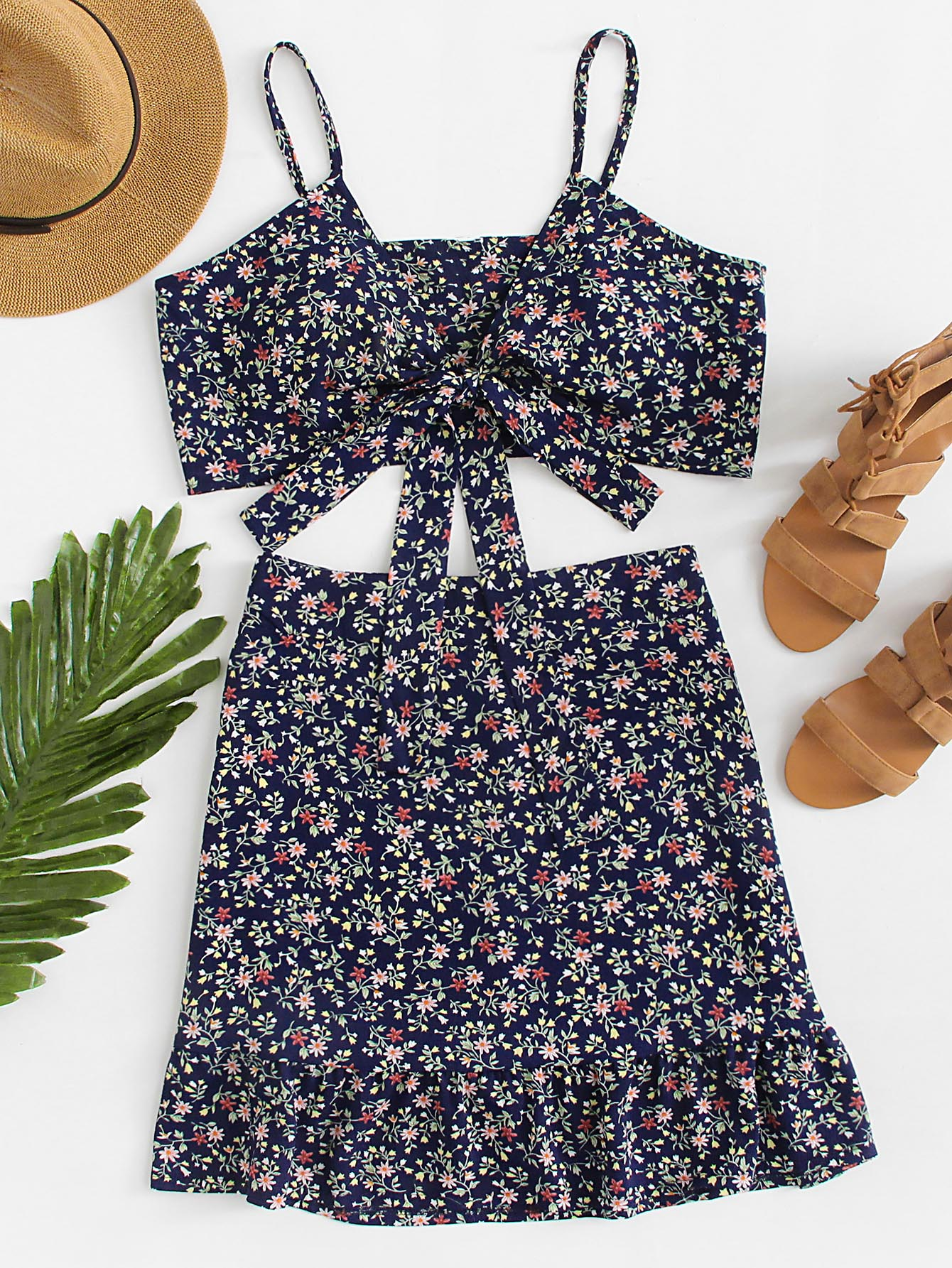 Floral Print Knot Cami Top And Skirt Co-Ord