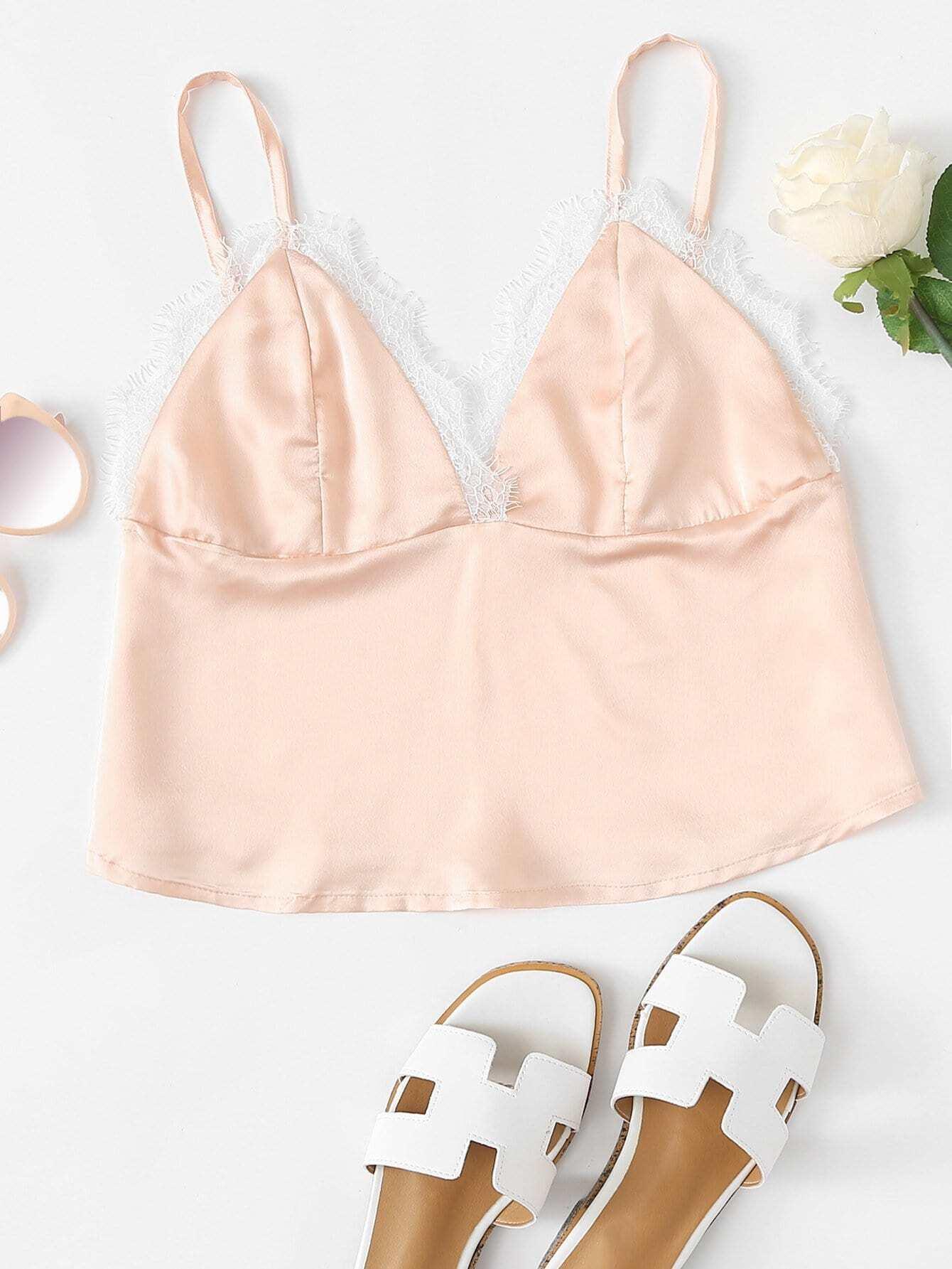 Contrast Lace Trim Crop Cami Top rves180328052