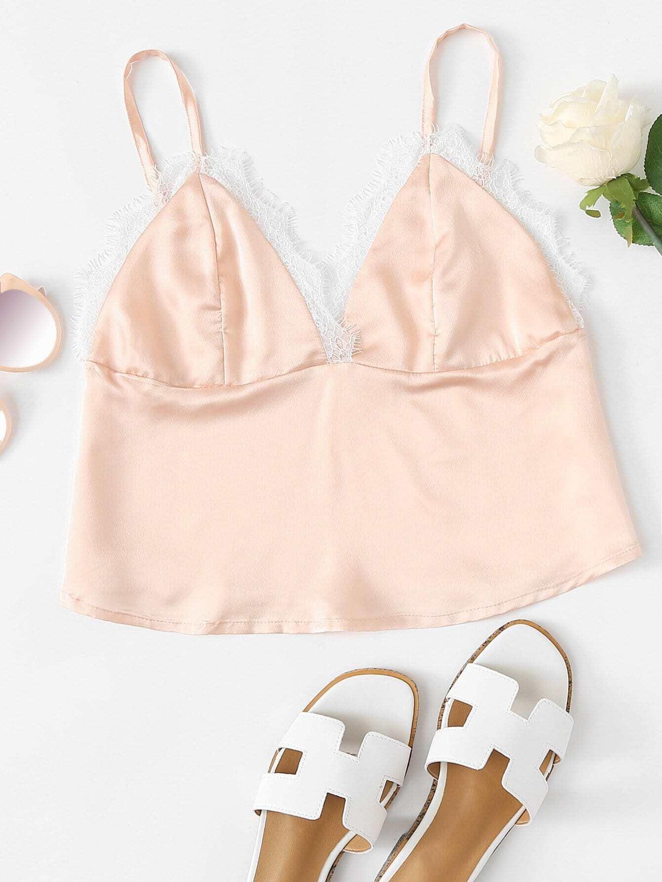 Contrast Lace Trim Crop Cami Top