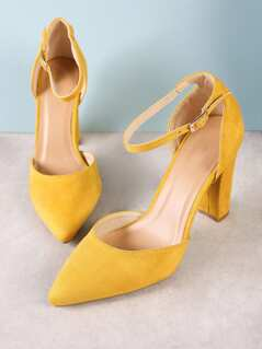 Faux Suede Pointy Toe Ankle Strap Chunky Heel MUSTARD