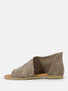 Open Shank Peep Toe Bootie TAUPE