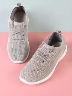 Slip On Lace Up Sneaker with Knit Design GREY