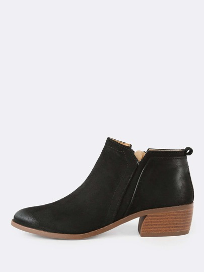 Oil Finish Zip Up Bootie BLACK