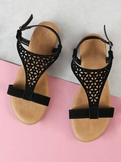 Perforated Sling Back Flat Sandal BLACK
