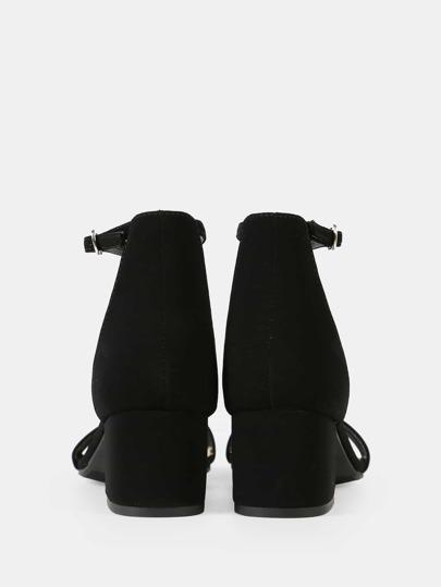 Romwe / Faux Suede Ankle Strap Low Block Heel BLACK