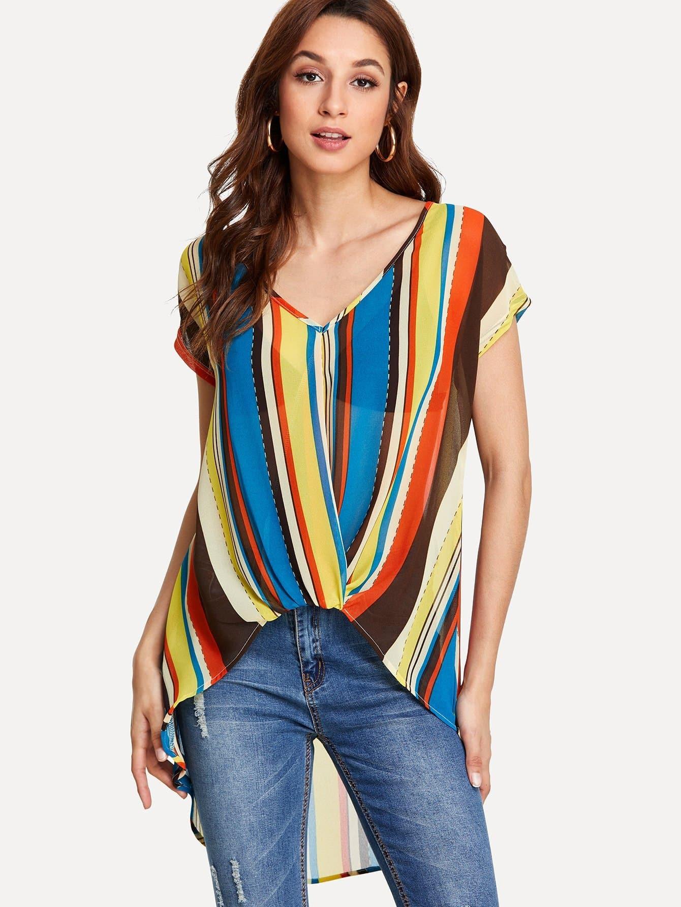 Vertical Striped Dip Hem Blouse all over cranes print dip hem striped blouse
