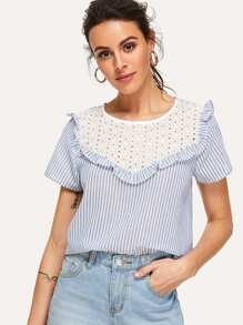 Contrast Eyelet Embroidered Yoke Striped Top