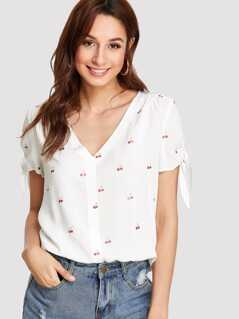 Cherry Print Tipping Detail Top