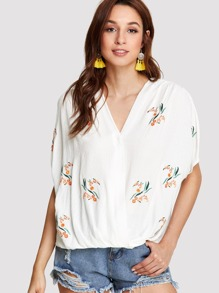 Botanical Embroidery Dolman Sleeve Top