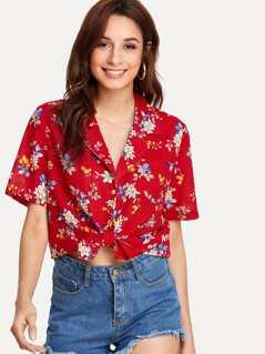 Flower Print Single Pocket Shirt