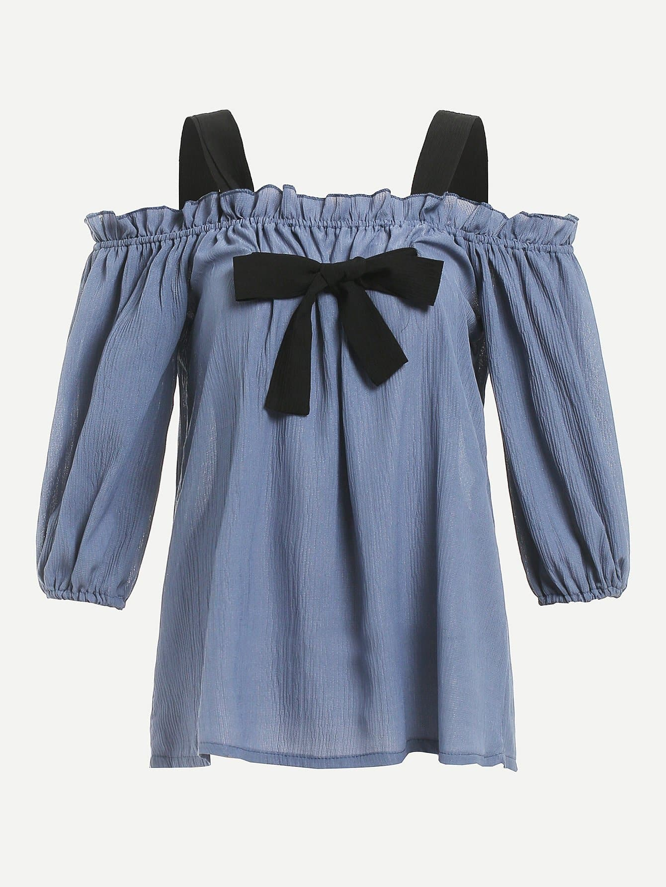 Cold Shoulder Knot Front Frill Trim Top