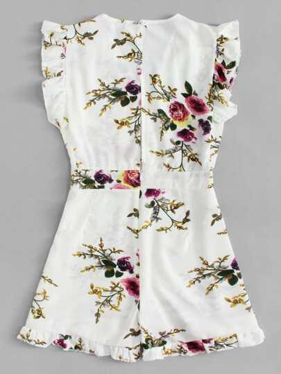 Romwe / Ruffle Trim Floral Print Romper