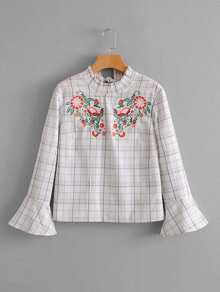 Floral Embroidered Plaid Blouse