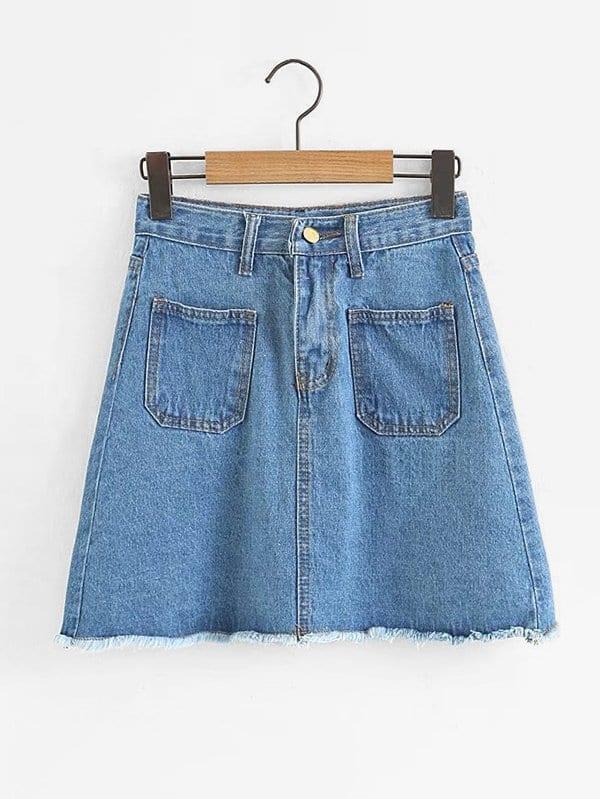 Dual Pocket Raw Hem Denim Skirt