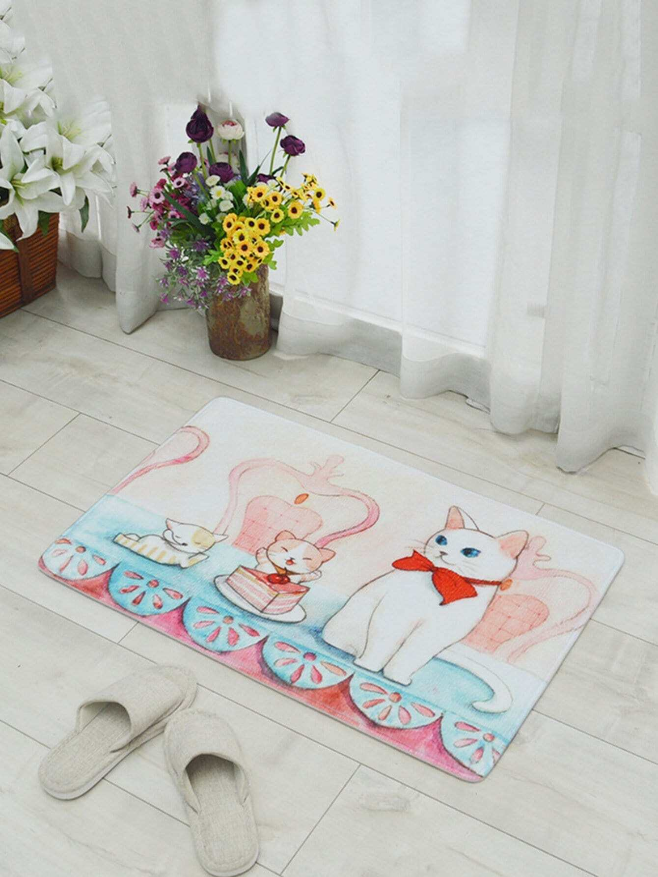 Купить Cartoon Cat Printed Mat, null, SheIn