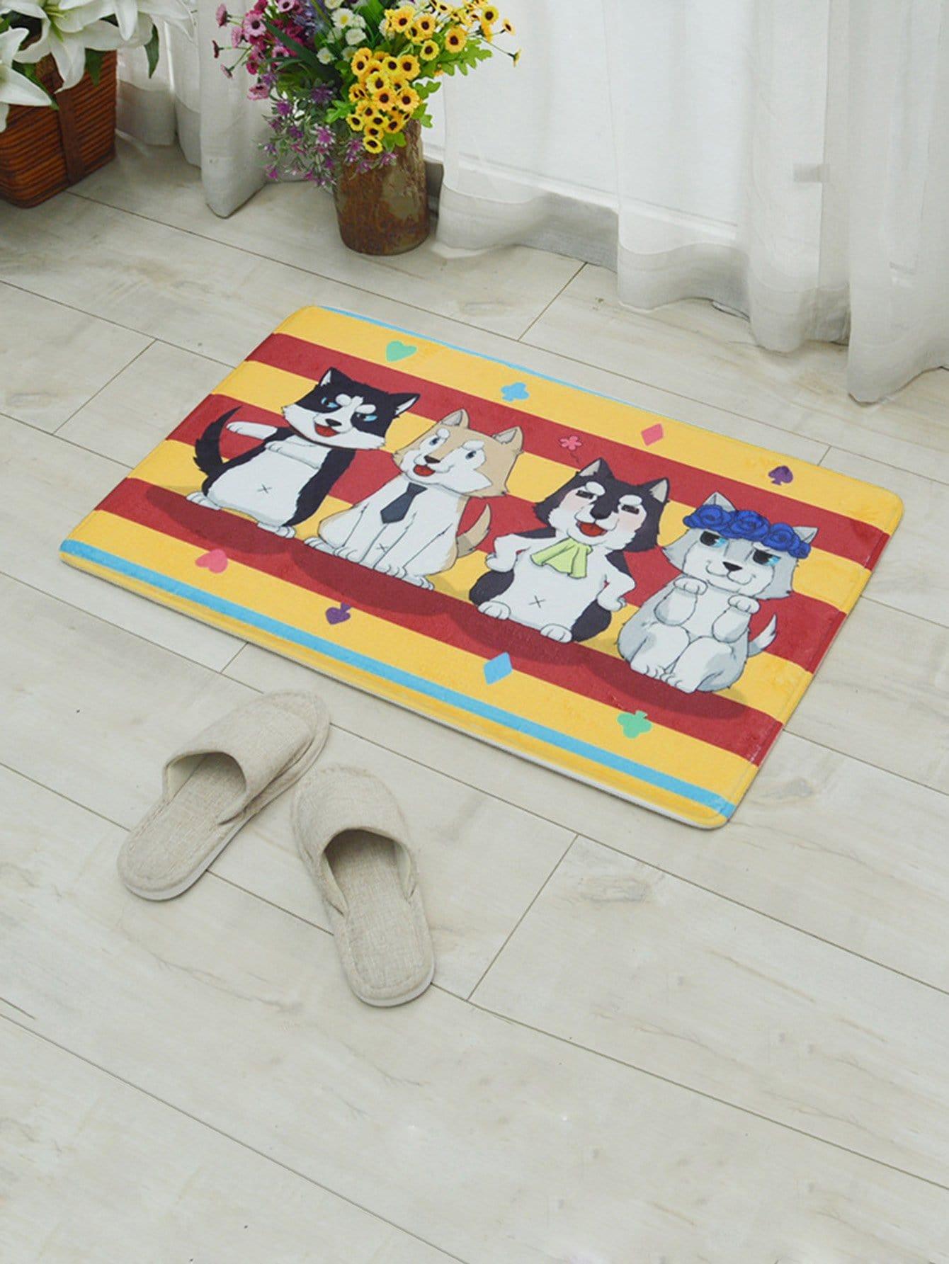 Dog Design Antislip Carpet antislip absorbent two dog room door carpet
