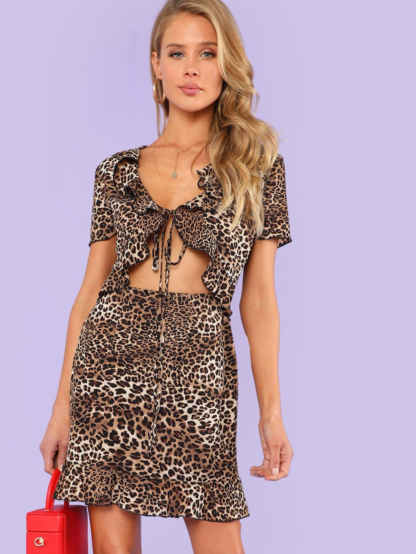 Knotted Open Front Ruffle Leopard Dress valentine golden brown pettiskirt dress leopard heart ruffle bow white top 1 8y mapsa0229