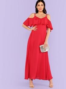 Ruffle Trim Strappy Cami Maxi Dress