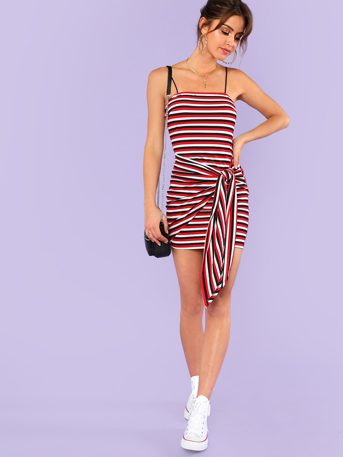 Knot Front Striped Ribbed Cami Dress knot front fit
