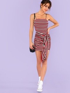 Knot Front Striped Ribbed Cami Dress