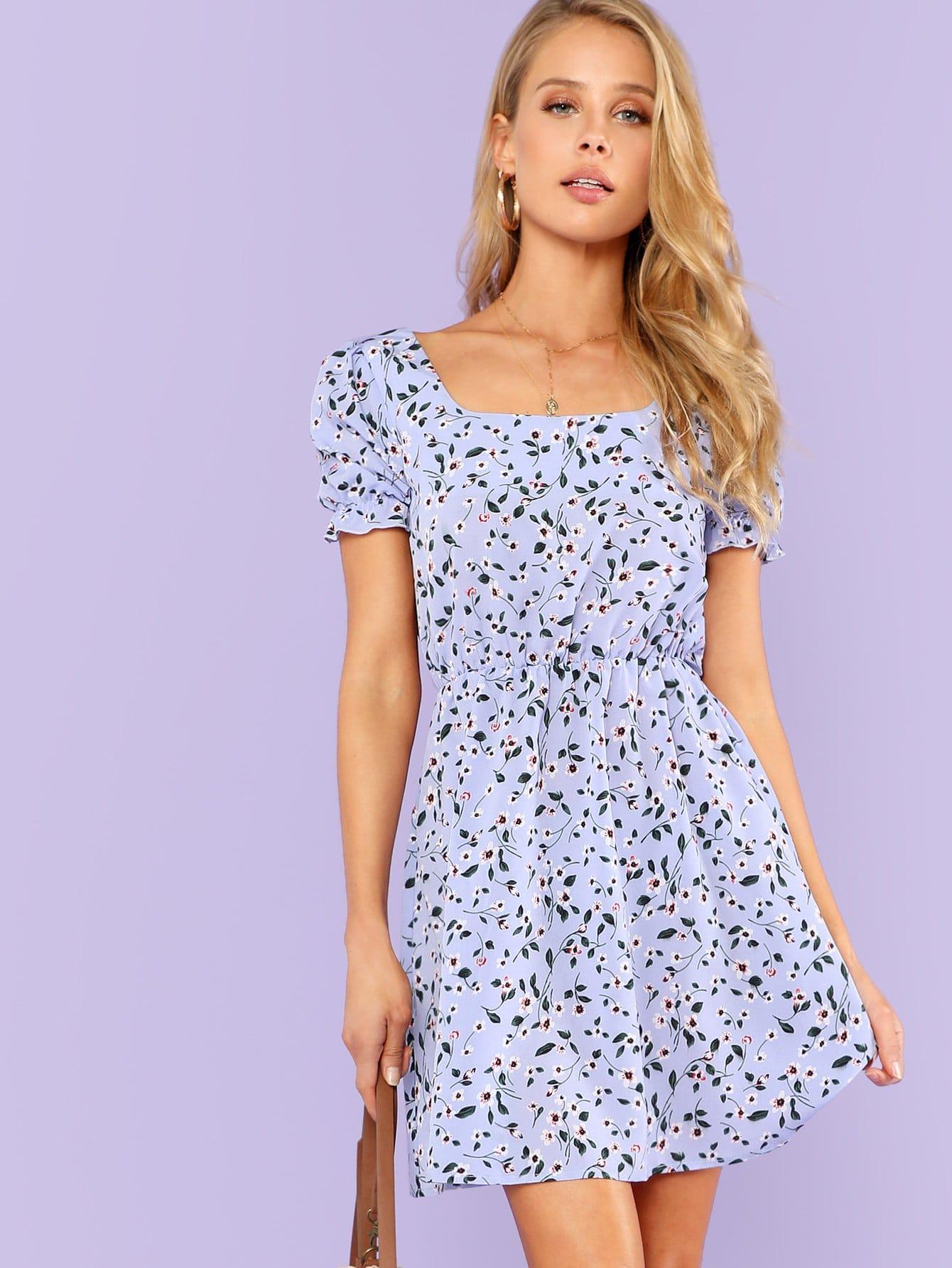 Купить Платье с цветочным принтом, Allie Leggett, SheIn