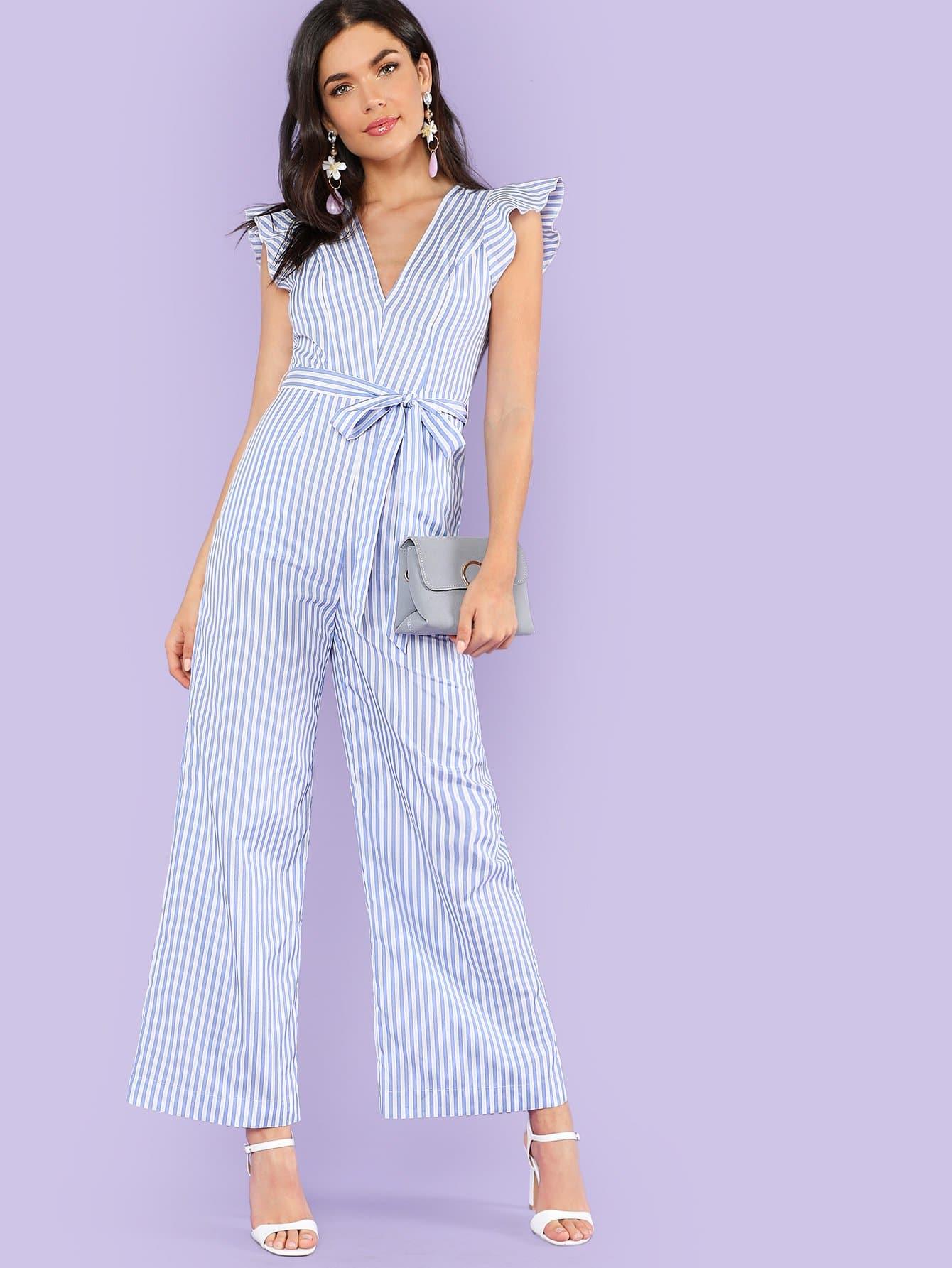 Ruffle Trim Tie Waist Striped Jumpsuit цена и фото