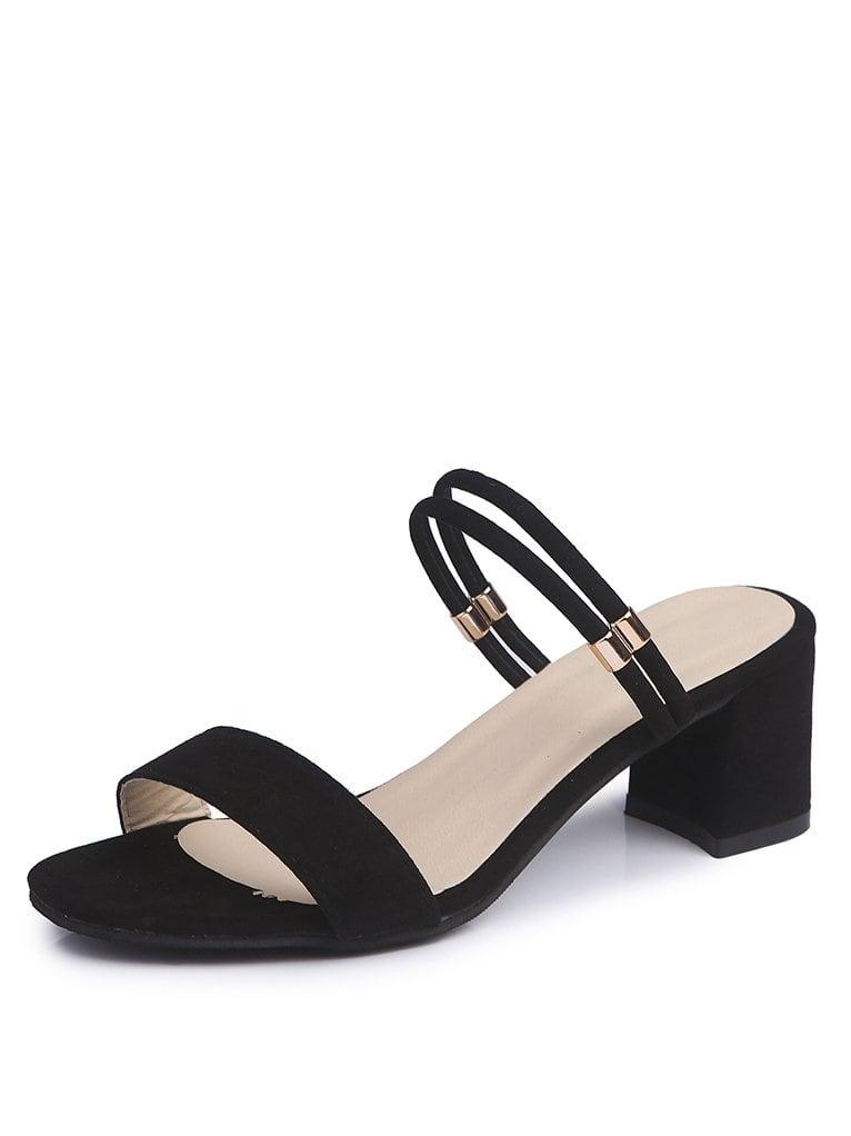 Double Strap Block Heeled Sandals