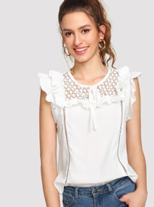 Hollow Out Ruffle Blouse