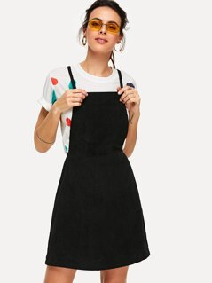 Bib Pocket Cross Back Corduroy Overall Dress