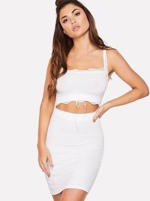 Lace Detail Cutout Midriff Ribbed Dress