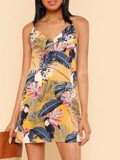 Tropical Print V Neck Cami Dress