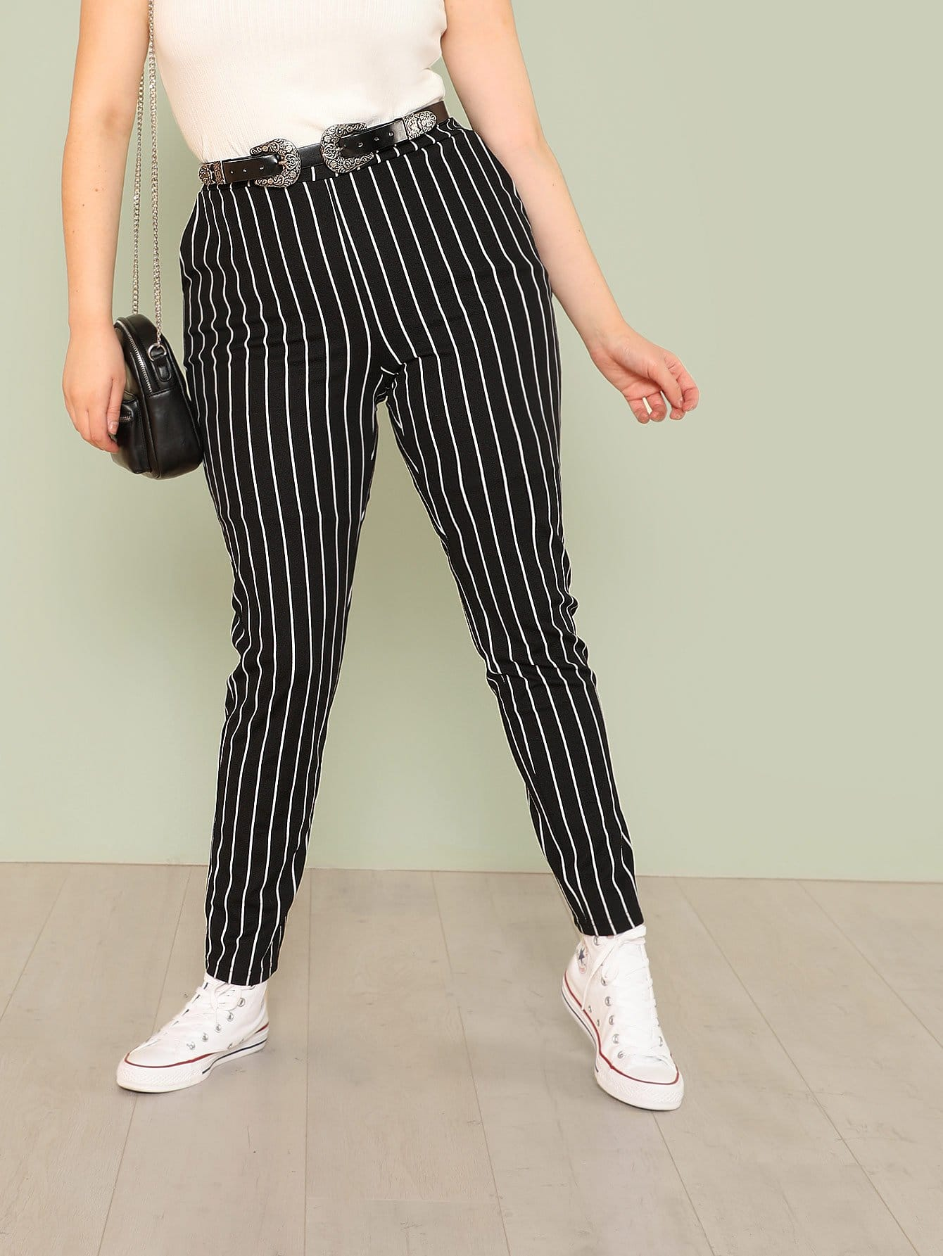 Plus Striped Skinny Pants