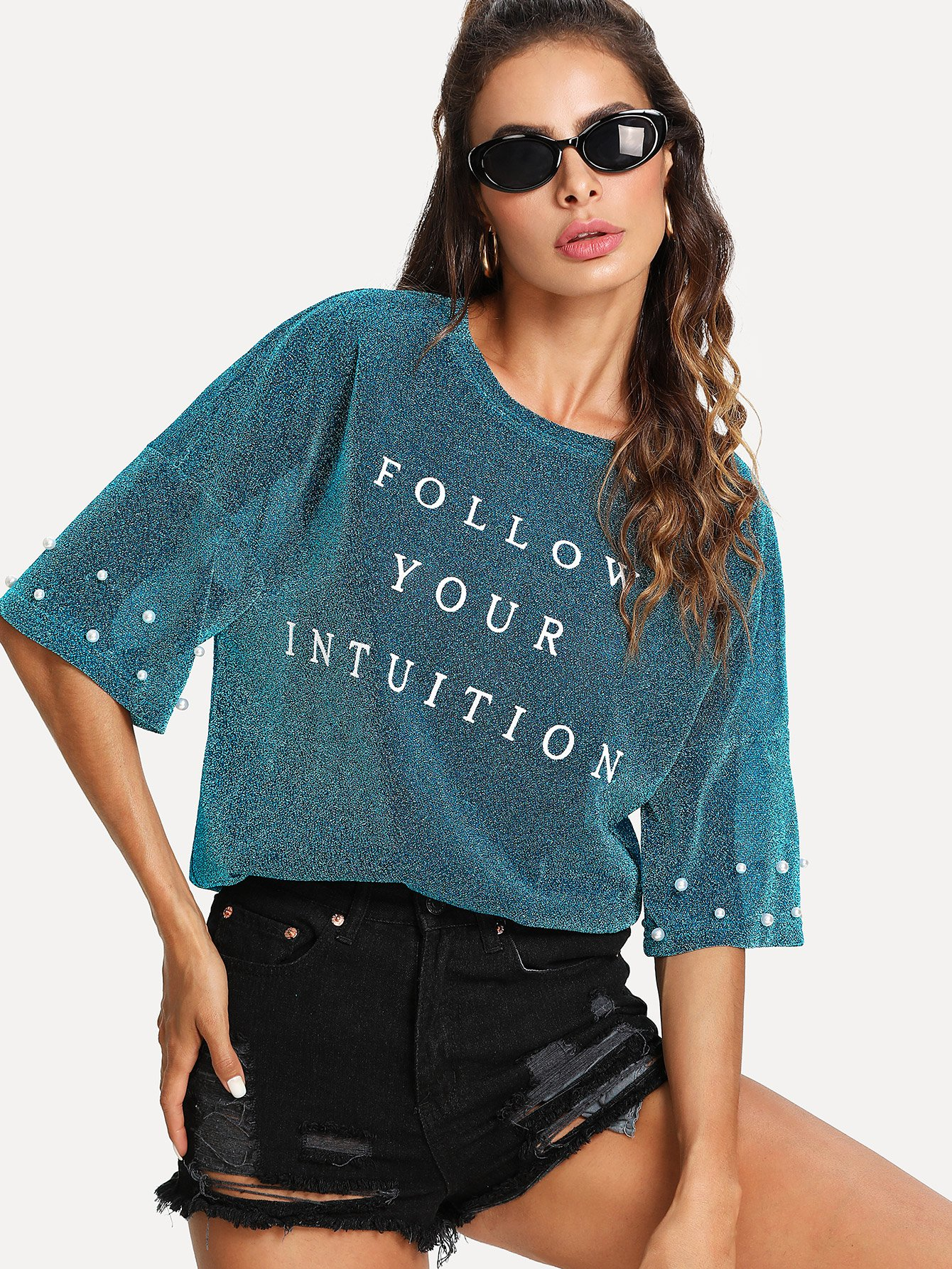 все цены на Drop Shoulder Pearl Beading Glitter T-shirt