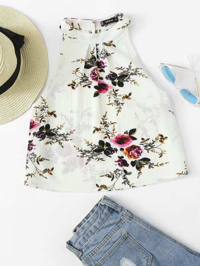 Pleated Front Sleeveless Floral Top